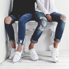 ripped jeans + jack purcell