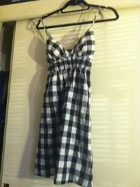 women's black and white flannel sun dress