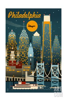 Philadelphia, Pennsylvania - Retro Skyline Print
