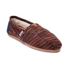Womens TOMS Rust Knit Classic Casual Shoe in Multi at Journeys Shoes. Shop Keep those feet comfy cozy this autumn by slipping on some Rust Knit TOMS Classics! The Rust Knit Classic features a soft shearling lining and thick sweater knit upper in an array of fun fall colors! Includes the famous TOMS toe stitch and elastic V, cushioned suede insole, latex arch, and one piece mixed rubber outsole.