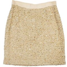 Pre-owned Kate Spade Gold Sequin Tweed Skirt ($39) ❤ liked on Polyvore featuring skirts, bottoms, faldas, gold, tweed skirt, embroidered skirt, kate spade, gold metallic skirt and kate spade skirt