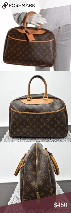 """Authentic LOUIS VUITTON Deauville Hand Bag Preloved in good vintage condition. Exterior has some discoloration and rubs on leather parts and handle. Major cracks near the root of the handle. Inside upper parts has minor rubs and minor stains at the bottom. 1st pic refers to the size. It is not the actual bag.  Size 14""""x10,5""""x5,5"""". Handle drop 5''. Date code: MB0969  This is one of the most beautiful thing your closet will have.   ⏳My items sell fast. Get them before gone. Louis Vuitton Bags…"""