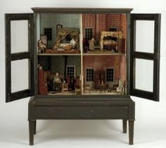 Lot: 375: 18th Century English Cabinet Dolls House, Lot Number: 0375, Starting Bid: $4,000, Auctioneer: Noel Barrett, Auction: The Mary Merritt Doll Museum Auction - Sale 1, Date: September 30th, 2006 BST
