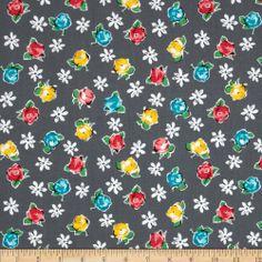 Amazon.com: Michael Miller Poppy Love Retro Rose Grey Fabric: Arts, Crafts & Sewing