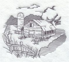 machine embroidery designs at embroidery library farm and country redwork and vintage - Barns Coloring Pages Farm Silos