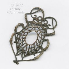 Oxidized brass filigree scarab stamping from European antique mold.  .  50x34mm.  sold individually.