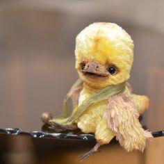 Авторские медведи-тедди Беспаловой Екатерины: Птенец Клиф. Bird Clif - OOAK 6''. to cute