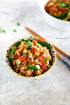 My take on 'Easy Fried Rice' - Cooked with crispy bacon and a mix of frozen vegetables. Ready in 20 mins. It's quick and easy! Delicious, of course!