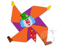 Lavoretti carnevale per bambini Pagliaccio a girandola Clown Crafts, Circus Crafts, Carnival Crafts, K Crafts, Preschool Crafts, Crafts For Kids, Arts And Crafts, Paper Crafts, Circus Theme