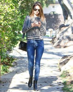 Leggy lady: The model also highlighted her long and slender legs in skinny jeans