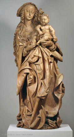 Attribué à Martin HOFFMANN ? (cité à Bâle à partir de 1507 - Bâle, 1530 - 1531)  La Vierge à l'Enfant  vers 1510 (?)  Provenant de la commanderie des Antonins d'Issenheim (Haut-Rhin)  Tilleul  H. : 1,72 m. ; L. : 0,69 m. ; Pr. : 0,495 m.  Collection Georges Spetz à Issenheim ; acquisition, 1924  | Musée du Louvre | Paris