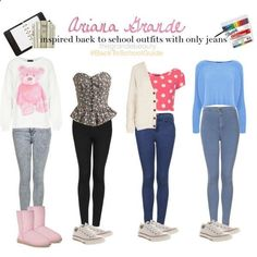 Ariana Grande Outfits | Ariana Grande inspired back to school outfits with only jeans