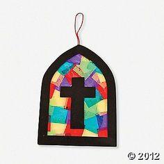 Tissue Paper Stain Glass Cross for Lent.