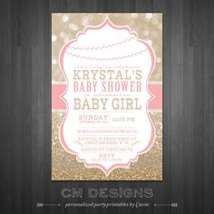 Pink and Gold Baby Shower Invitation by DesignsbyCassieCM on Etsy, $13.50