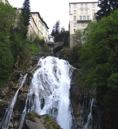 The double waterfall in Bad Gastein, Austria. We stayed in a old inn and people watched in the town square. Austria, Places Ive Been, Waterfall, Spaces, Nature, People, Photos, Outdoor, Outdoors