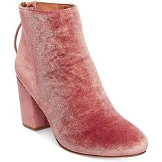 Steve Madden Women's Cynthia Velvet Block-Heel Booties ($129) ❤ liked on Polyvore featuring shoes, boots, ankle booties, pink velvet, pink booties, steve madden booties, block heel booties, pink boots and velvet booties