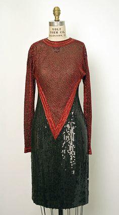 Evening dress Halston (American, Des Moines, Iowa 1932–1990 San Francisco, California) Date: 1984 Culture: American Medium: silk, plastic