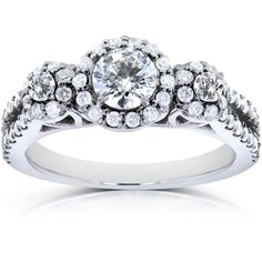 Kobelli 1 CT TW Round-Cut Diamond 14K White Gold Halo Engagement Ring