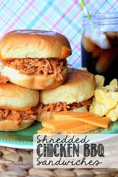 Chicken BBQ Sandwiches - Shredded chicken simmers away in a homemade, tangy BBQ sauce and served over toasted potato rolls!Shredded Chicken BBQ Sandwiches - Shredded chicken simmers away in a homemade, tangy BBQ sauce and served over toasted potato rolls! Grill Sandwich, Chicken Sandwich Recipes, Bbq Burger, Shredded Chicken Sandwiches, Shredded Chicken Recipes, Monte Cristo Sandwich, Rotisserie Chicken, Cooking Recipes, Smoker Recipes