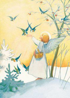 Martta Wendelin Joulu | Osastot | Korttien Talo Christmas Tale, Vintage Christmas Cards, Christmas Angels, Vintage Cards, Vintage Postcards, Christmas Illustration, Illustration Art, Xmas Drawing, I Believe In Angels