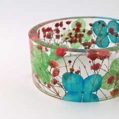Size XXL  Botanical Resin Bangle. Contemporary Resin Bracelet.   Blue, Red and Green Baby's Breath & Hydrangea