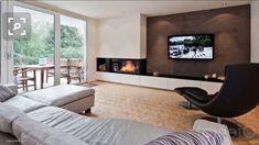 Living Room Decor Fireplace, Fireplace Tv Wall, Stairs In Living Room, Fireplace Remodel, Living Room Tv, Fireplace Design, Living Room Layout With Fireplace And Tv, Minimalist Fireplace, Modern Fireplace