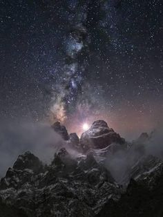 size: Premium Giclee Print: At the Edge of the World : Milky Way and starfilled sky seeming to rise out of mountain suggesting a connection between age old rocks and the infinity of space Beautiful Sky, Beautiful Landscapes, Beautiful World, Beautiful Scenery, Beautiful Places, Beautiful Pictures, Monte Fuji Japon, Landscape Photography, Nature Photography