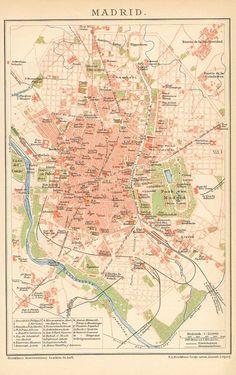 A map of Madrid (Spain), with a pretty peachy colour scheme.