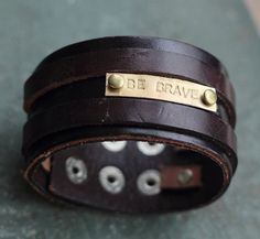 Men's Personalized Jewelry ,Custom hand stamped bracelet, Personalized Leather Cuff Bracelet,Personalized Leather Bracelet