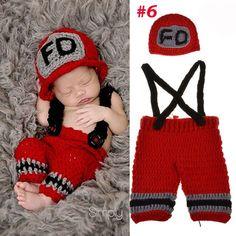Handmade Crochet Photography Props Knitted Newborn Baby Hat Boy Girl Costume Outfit Fireman Cowboy Super Mario SG043