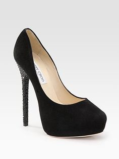 Jimmy Choo Crystal-Heel Suede Pumps. Absolutely beautiful and effortless...