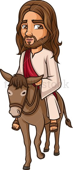 Jesus Christ On A Donkey: Royalty-free stock vector illustration of Jesus Christ riding a calm donkey. Andrew The Apostle, Parting The Red Sea, A Donkey, Free Vector Clipart, Cain And Abel, Cartoon Images, Jesus Christ, Religion, Clip Art