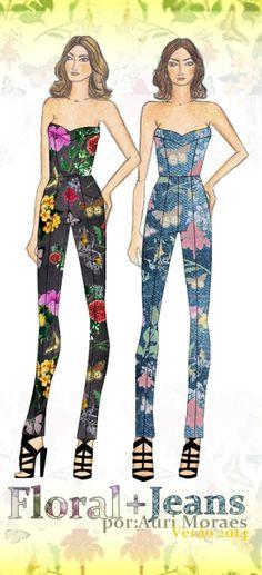 Auriele (desenhos de Moda): Jeans + Floral