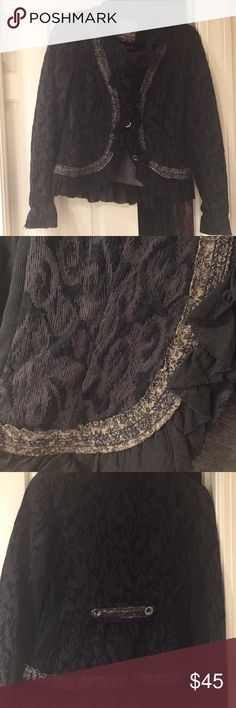 Free people jacket with gorgeous detailing Black and gray free people jacket with beautiful trim. Statement piece! Free People Jackets & Coats
