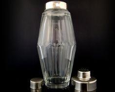 Large Cocktail Shaker Cut Crystal Glass, Cobbler Shaker, Martini Shaker / Mid…