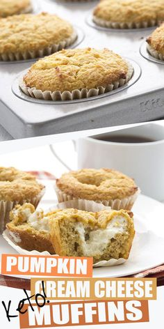 These are the BEST keto pumpkin muffins. A Starbucks copycat recipe filled with cream cheese for a delicious pumpkin experience. The best low carb muffins around! use dairy free Keto Friendly Desserts, Low Carb Desserts, Low Carb Recipes, Dessert Recipes, Free Recipes, Protein Recipes, Dinner Recipes, Lunch Recipes, Shake Recipes