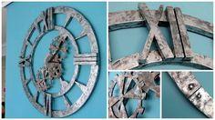 Tú también podrás tener en casa este reloj de pared de estilo industrial, que imita el acabado en acero envejecido, gracias a este tutorial.