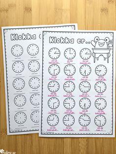 Gratis klokkeoppgaver i dette innlegget med tips og ideer til arbeid med klokka! Daily Math, Math Games, Bullet Journal, Classroom, Teaching, Activities, Education, School Ideas, Blog