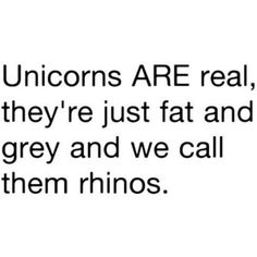 Unicorns ARE real, they're just fat and grey gray and we call then rhinos, At least it's better than Kara trying to convince Domino that horses were just giraffes in disguise. Best Quotes, Funny Quotes, Funny Memes, Quotable Quotes, Jokes, Quotes App, Favorite Quotes, Make Me Happy, Make You Smile