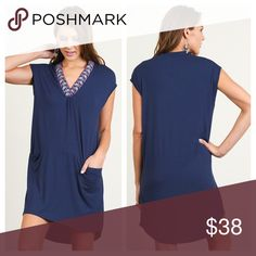 Navy Pocket Dress Navy blue dress with embroidered detail on the v-neck. Pockets and n the front. Super comfy! 🙂 Dresses Mini
