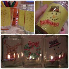 cross stitch sharpie jar lanterns