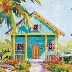 Island Charm By Kathleen Denis Art On Canvas - East Coast Graphics, Multi-Colored Canvas Art Prints, Canvas Wall Art, Diy Canvas, Art Tropical, Pintura Exterior, Caribbean Art, Cottage Art, Whimsical Art, Beach Art