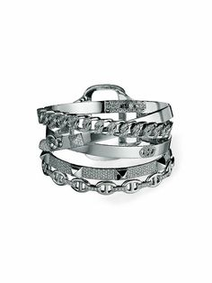 Hermès layered bracelet  An arm party in white gold and diamonds.  $154,000
