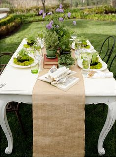 Every Garden Party needs burlap table runners or linens! In Chicago & suburbs, rent them from SatinChairCovers.com