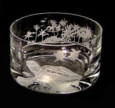 Sea Turtle Crystal Bowl designed by master crystal carver and artist, Lorraine Coyle.
