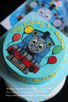 +++ How to : How to make cartoon cake +++ [Bakery & Ice Cream] Thomas Birthday Cakes, Thomas Cakes, 1st Birthday Cakes, Buttercream Cake Designs, Cake Decorating Frosting, Thomas And Friends Cake, Ice Cake, Character Cakes, Bakery Cakes