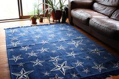 [140×200cm]満天の星空のような星模様のフリンジラグ(グレー):ミッドセンチュリー,ポップ,グレー系,Home's Style(ホームズスタイル)のラグ・マットの画像