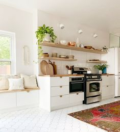 7 Scandinavian Kitchen Floor Tile Ideas That'll Inspire You to Embrace Both Color and Pattern — Hunker Scandinavian Kitchen Tiles, Scandinavian Design, Kitchen Flooring, Ikea Kitchen, Kitchen Ideas, Kitchen Cabinets, Kitchen Stools, Kitchen Reno, White Cabinets