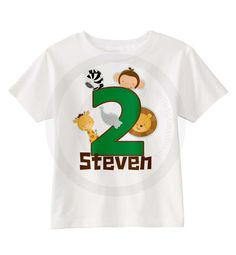 Jungle Birthday shirt - Any Age - With Monkey, Zebra, Lion, Giraffe and Elephant 11132014a