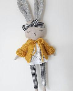 Bunny doll, fabric doll , cloth doll,gift for girl, heirloom doll Doll Crafts, Diy Doll, Sewing Crafts, Sewing Projects, Easy Projects, Sewing For Kids, Diy For Kids, Tilda Toy, Fabric Animals